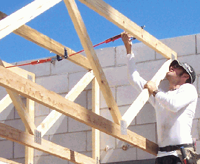 roof trusses being set or made safe